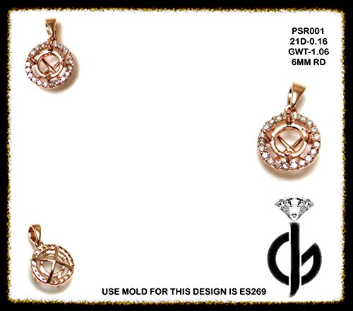 14k 6 Mm Mount (6mm Round Pendant Semi Mount in 14k Rose Gold with White Diamond (9020))