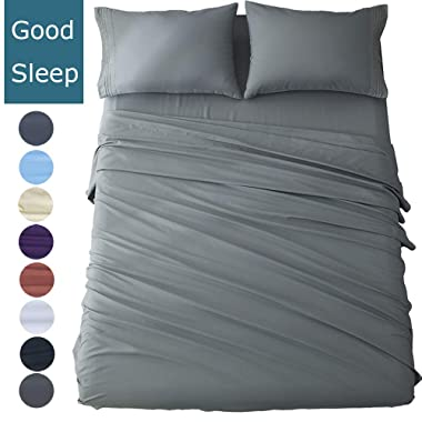 Shilucheng Queen Size Bed Sheets Set Microfiber 1800 Thread Count Percale Egyptian Super Soft and Comforterble| 16 Inch Deep Pockets | Wrinkle Fade - 4 Piece (Queen,Dark Grey)
