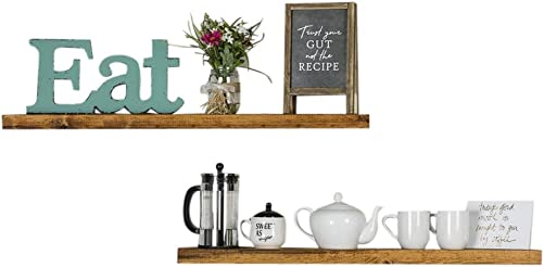 Del Hutson Designs-Rustic Pine Floating Shelves Walnut, 36 Inch Renewed