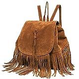 Catkit Casual Womens Steet Style Tassels Tote Handbag Shoulder Bag Backpack Brown