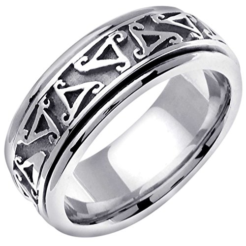Platinum Celtic Triskele Men's Comfort Fit Wedding Band (8mm) Size-12c1