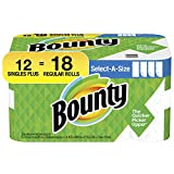 Bounty Select-A-Size Paper Towels, White, 12 Single Plus Rolls = 18 Regular Rolls (Packaging May Vary)