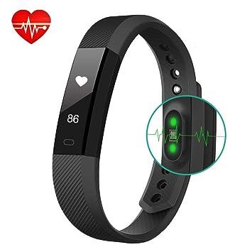 AIMIUVEI Pulsera Actividad Inteligente Monitor de Ritmo Cardíaco Reloj Inteligente Mujer y Hombre,Impermeable 67 Podómetro,Cronómetros,Despertador,Cámara ...