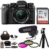 Fujifilm X-T2 Mirrorless Camera w/18-55mm Lens Rode Mic Video Kit with 64gb Focus Gear Bag