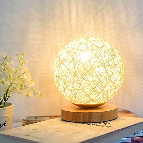 Lampara de mesa de madera ABEDOE, lampara decorativa de mesita de noche con cargador USB para dormitorio, sala de estar, mesita de noche, mesa auxiliar, sala de cafe, habitacion de bebe