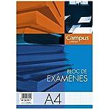 10x Bloc de Exámenes A4 (210x297) Cabecera 40 Hojas 60 gr/m2 Cuadrícula 4mm.