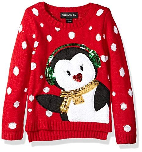 Blizzard Bay Girls' Little Earmuff Penguin Xmas Sweater, red Combo M 5 -