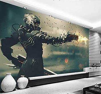 BZDHWWH 3D Papel Tapiz De Anime Robot Y Pistola Láserposter Cafe ...