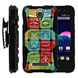 TurtleArmor | Compatible for ZTE Obsidian Case | Z820 [Hyper Shock] Hard Armor Rugged Solid Hybrid Cover Kickstand Impact Silicone Belt Clip Holster Robot Android Design - Blocked Robot Heads