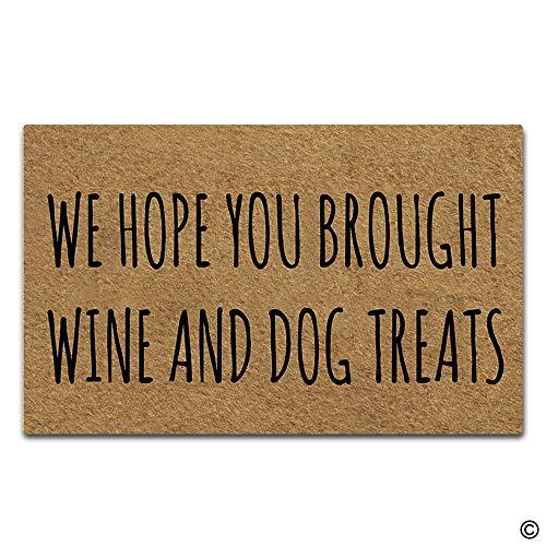 Artswow Funny Doormat Indoor Outdoor Entrance Floor Mat Personalized Doomat Non-Slip Rubber Backing Door Mat 30 by 18 Inch, We Hope You Brought Wine and Dog ()