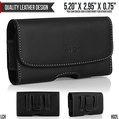 Nokia E90 Communicator Belt Pouch, TMAN [Leather Horizontal] Metal Clip Holster / Magnetic Closure Case, Cover with Belt Loop Carrying Protective - Fits Cellphone without any Case