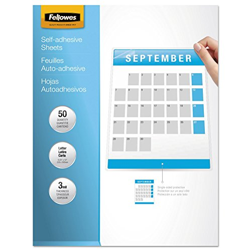 Janitorial Supplies Fellowes 5221502 Laminating Sheets, Self-Adhesive, LTR,9-1/4-Inch x12-Inch, 50/PK, CLR