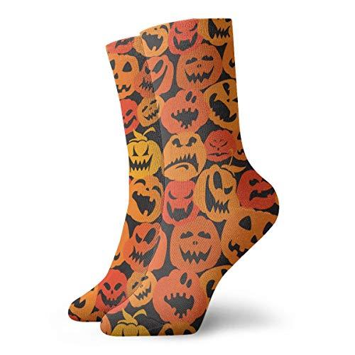 Men's & Women's Casual Crew Socks - Cute Orange Fall Halloween Scary Monsters Pumpkin Pattern Polyester Short Socks - Athletic Non-slip Dress Gift Socks for Running/Camping/Hiking