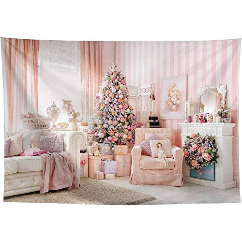 Allenjoy 8x6ft Pink Interior Room Christmas Decoration Photography Backdrop and Studio Props Princess Fairy Tale Xmas Eve Background Girl Newborn Baby Shower Portrait Party Event Banner