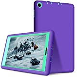 Hocase Fire 7 2017 Case Hybrid Dual Layer Shockproof Silicone Bumper Hard PC Bumper Protective Case for All-New Fire 7 Tablet (7th Generation, 2017 Release) - Purple / Teal