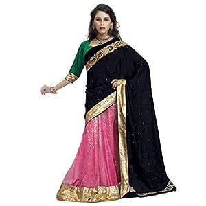 Shilp-Kala Net , Velvet Border Work Pink Colored Sarees SK78010