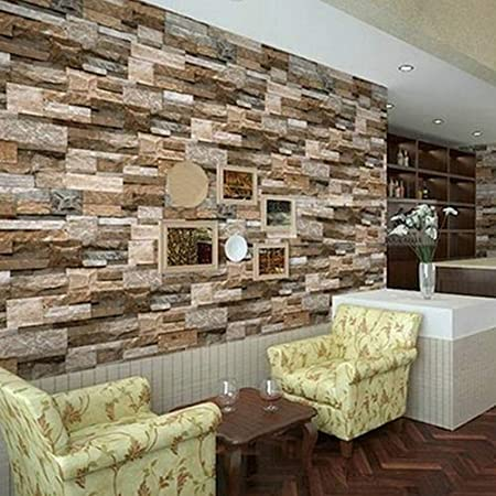 1 Roll Stacked Brick Stone Printed Faux Realistic PVC Wallpaper Sheet