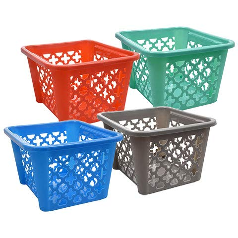 Storage Book Bins for Classroom Library Colored Plastic Baskets for Organizing Colorful Containers for Shelves Small Square Bin Kids Crayon Organizer 4 Pack Assorted Colors Turquoise, Red, Grey&Blue
