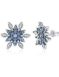 925 Sterling Silver Snowflake Earrings Cubic Zirconia Diamond Earrings for Women Christmas Jewelry