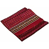 Dark Red Navy White Squares Printed Double Layer Long Pure Silk Scarf