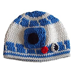 Milk protein cotton yarn handmade baby R2D2 hat - fits 1-3 year old toddler
