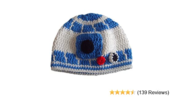 add038d3a00 Amazon.com  Handmade Milk Protein Cotton Yarn Star Wars Baby R2D2 Hat Droid  Hat in Blue - Multiple  Clothing