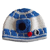 Milk protein cotton yarn handmade baby R2D2 hat - fits preteen, teen and adul...