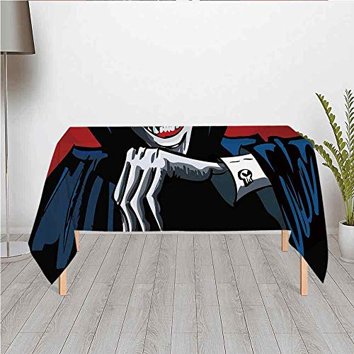 Vampire Ultra Soft Satin Tablecloth,Cartoon Cruel Old Man