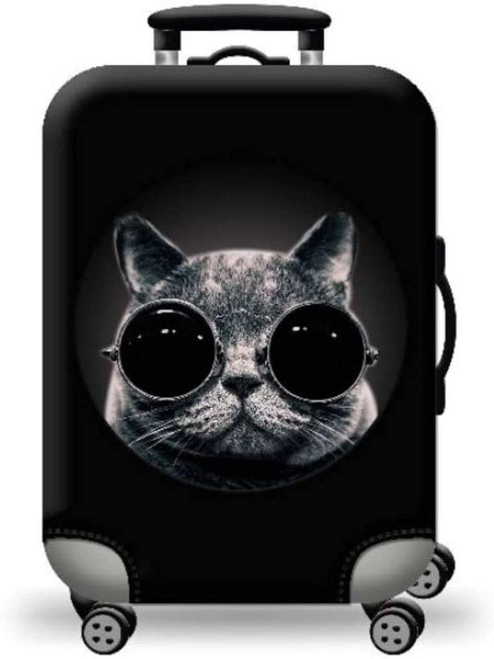 Oureong Luggage Cover Cat with Glasses 3D Print Thick Waterproof Elastic Thicken Suitcase Protector Travel Luggage Cover Fit for 18-32 Inch Luggage Anti-Scratch Dustproof Suitcase Cover