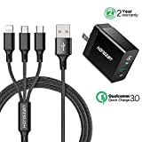 Quick Charge 3.0 18W USB Wall Charger With 3-in-1 Multi Charging Cable 4feet Fast Portable Charger For Samsung Galaxy S9/S9+/S8 plus S7/S6/Note, iPhone X/8/7, HTC,LG, and Android More(Black)