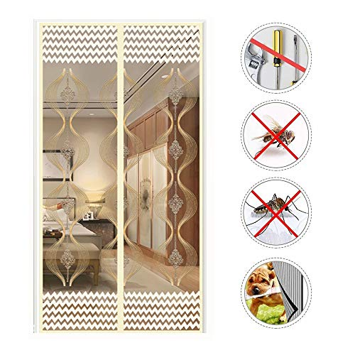 (Upgraded Embroidered Magnetic Screen Door, Reinforced Magnet with Full Frame Velcro Heavy Duty Mesh Curtain Stripe Keep Biting Bugs Out Fits Doors up)
