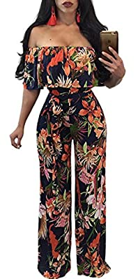 Aro Lora Women's Off Shoulder Floral Printed Cropped Wide Leg Jumpsuits Rompers