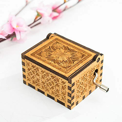 Longay Pure Hand-Classical Music Box Hand-Wooden Music Box Creative Wooden Crafts Best Gifts (Beige)