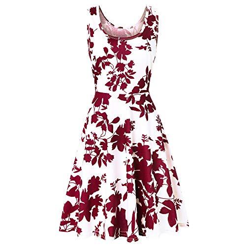 (Alimao Dress for Womens Sleeveless Printing Floral Beach A Line Casual Dress)