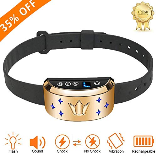 Cheap Bark Collar [Smart Upgrade]Humanely Stops Dog Barking with Anti-Barking Collar with Beep,Flash Vibration and Harmless Shock Rechargeable Rainproof No Bark Control Training for Small/Medium/Large Dogs