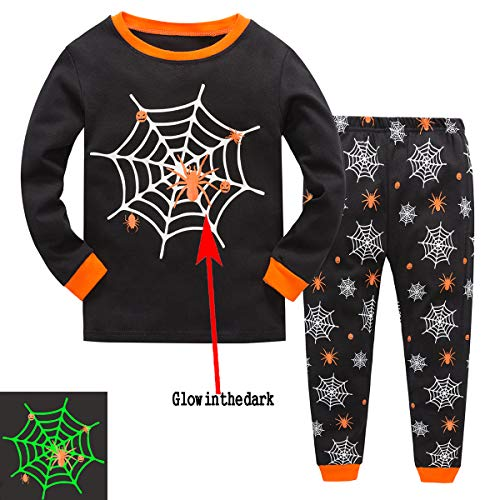 Qzrnly Little Boys Pajamas Glow in The Dark Toddler Clothes Cool Halloween Kids Pjs Sleepwear