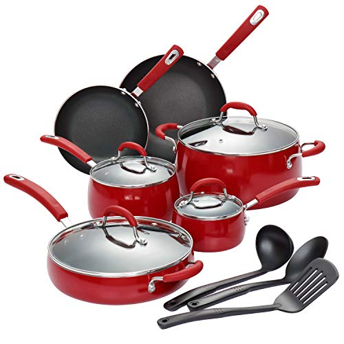 (Finnhomy Hard Porcelain Enamel Aluminum Cookware Set, Ceramic Cookware Set, New Technology Double Nonstick Coating PTFE PFOA Free Kitchen Pots and Pan Set, 14-Piece, Red)
