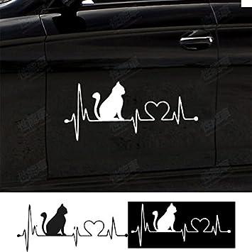 Hanbaili 2pcs Katze Elektrokardiogramm Aufkleber Fur Die Wand