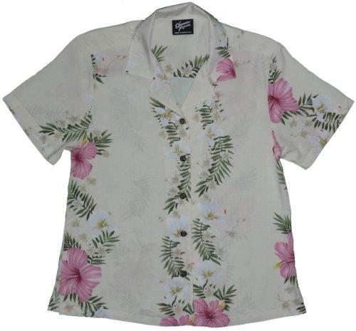 Women's Paradise Lei Hawaiian Aloha Rayon Shirt in Beige - M