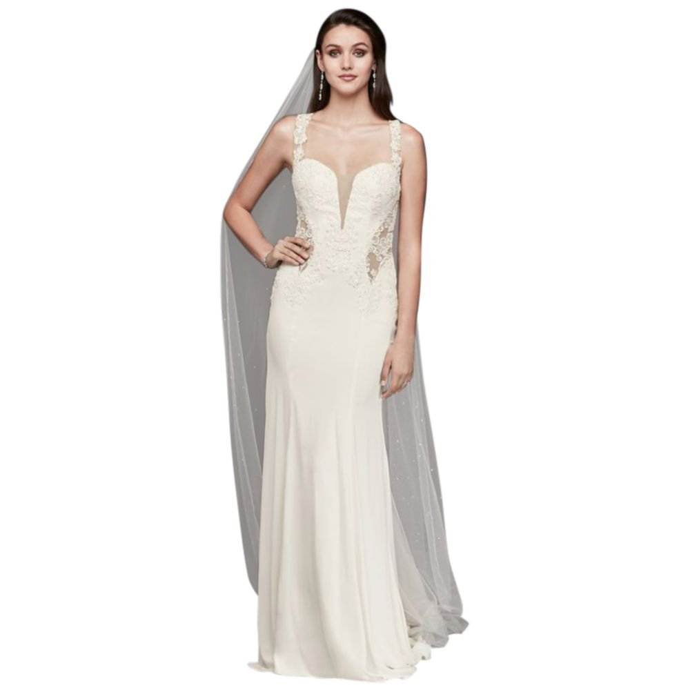 Petite Lace Wedding Dress With Illusion Neckline Style 7swg725 At