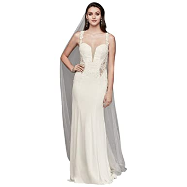 David\'s Bridal Petite Lace Wedding Dress Illusion Neckline Style ...