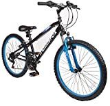 Muddyfox 24' Sniper Boys Hardtail Mountain Bike - 18 speed Shimano Twist Grip - Black and Blue - Frame Size 16'