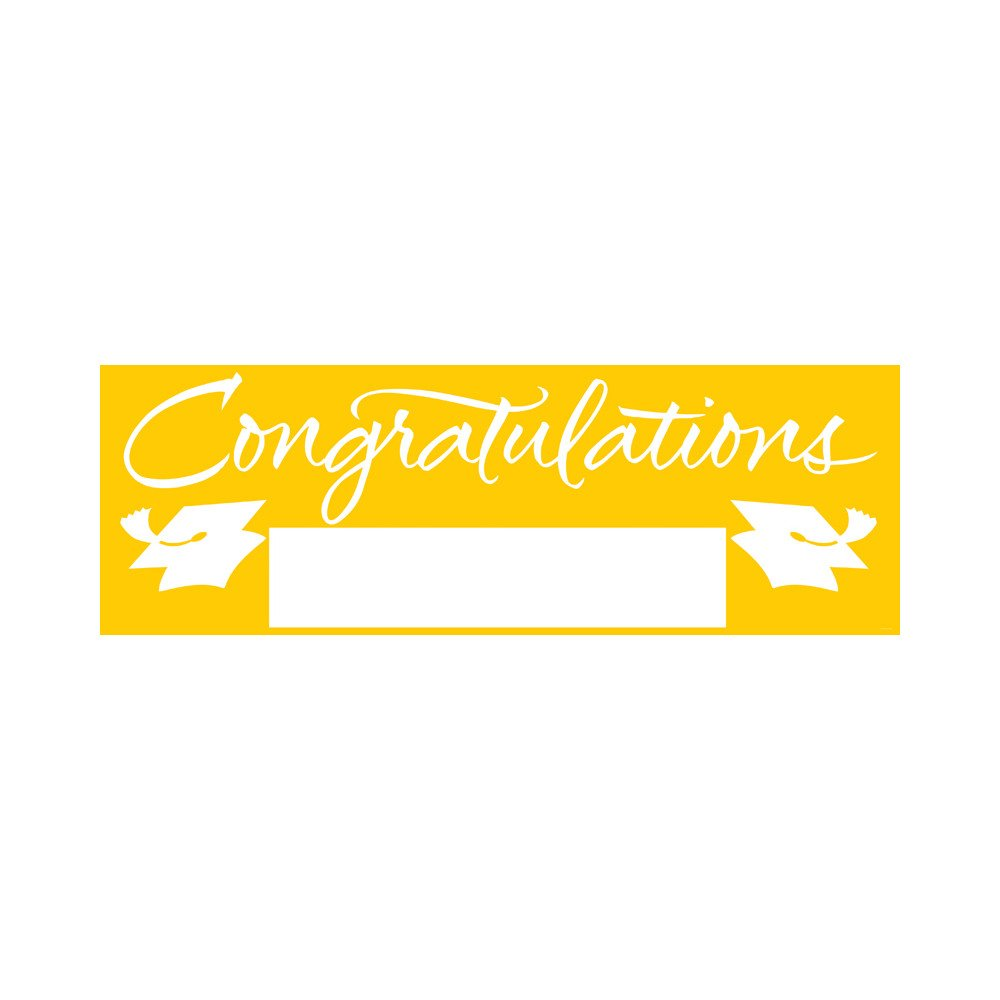 Creative Converting School Colors Paper Art Giant Fill-In Graduation Party Banner, 60 by 20-Inch, Yellow