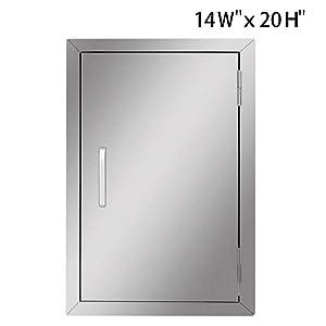 Seeutek Outdoor Kitchen Doors 14W x 20H Inch BBQ Access Door - Stainless Steel Single Wall Construction Vertical Door for Outdoor Kitchen Grilling Station or Commercial BBQ Island