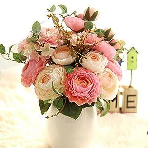 KIRIN Artificial Fake Flowers Plants Silk Rose Flower Arrangements Wedding Bouquets Decorations Plastic Floral Table Centerpieces Home Kitchen Garden Party Décor (Pink Champagne) 3