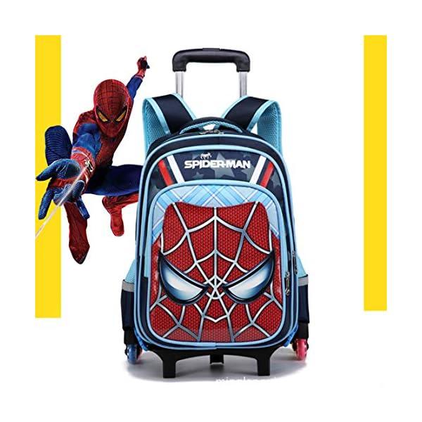 MODRYER Borsa Kid Spiderman Zaino elementare Studenti Zaino duplice Uso Ruote School Children Trolley Pack per 6-12 Anni… 1 spesavip