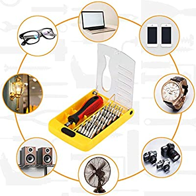 Apsung 37 in 1 Precision Screwdriver Set with Slotted, Phillips, Torx& More Bits, Non-Slip Magnetic Electronics Tool Kit for Repair iPhone, Android, Computer, Laptop, Watch, Glasses, PC etc: Home Improvement