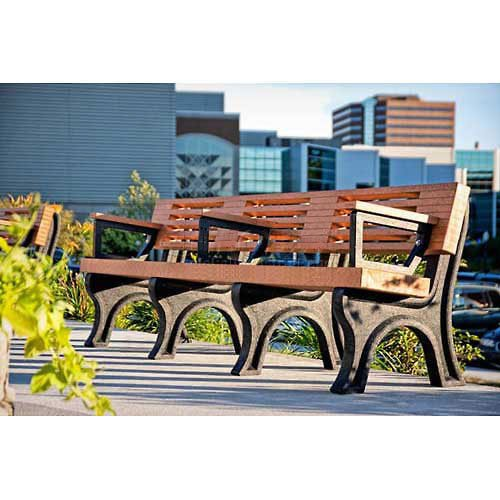 Elite 8 Ft. Backed Bench with Arms, Green Bench/Black Frame