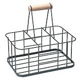 Kitchen Craft Living Nostalgia Metal Bottle Carrier Basket with Handle LNBCARRIER