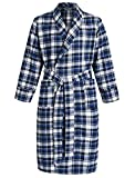 Latuza Men's Cotton Flannel Robe M Blue